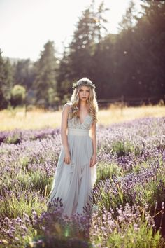 Flowing bridal gown with plunging neckline & lavender flower crown | Rivkah Photography
