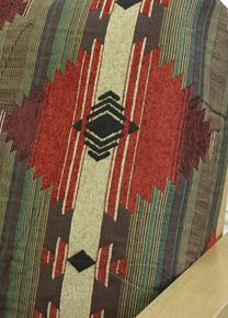 Southwest Tucson fabric offers southwestern motif in traditional color shades of reds, sand, black and green #customslipcovers