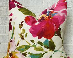 Colourful Floral Pillow Cover, Fushia, green yellow watercolor 18 inch flower pillow