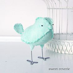 Lily the Soft Sculpture Textile Fabric Bird by Sweet Reverie, $22.00