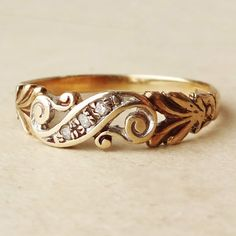 1940's Art Nouveau Design Gold Diamond Scroll Ring, Vintage Diamond & 9k Gold Engagement Ring,  Approx. Size US 7.5