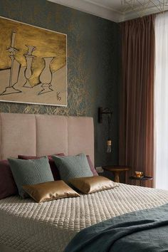 62 Ideas Bedroom Wallpaper Neutral Interior Design For 2019 Bedroom Green, Bedroom Colors, Home Decor Bedroom, Design Bedroom, Contemporary Bedroom, Modern Bedroom, Bedroom Wallpaper Neutral, Bedroom Curtains With Blinds, New Classic Furniture