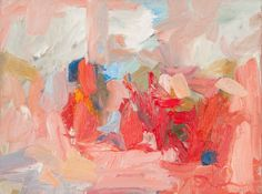 """Original abstract, modern landscape, oil painting on canvas, """"Happy Hour"""", 16""""x 12"""" pink paint, red paint by abstract artist Amy Donaldson"""