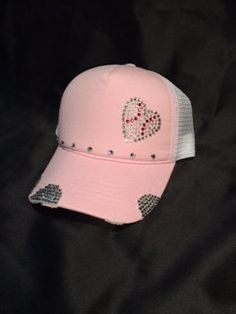 cca4d9d01667a Baseball trucker hat. Swarvoski crystals. by THREEBSHATS on Etsy