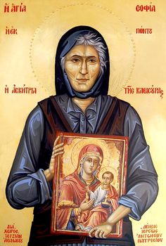 Myrtidiotissa or St. Sophia the Eldress of Kleisoura - May 6 Byzantine Icons, Byzantine Art, Religious Icons, Religious Art, Famous Freemasons, Greek Icons, Roman Church, Orthodox Christianity, Spiritual Wisdom