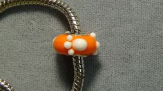 Clemson Tigers European charm bead orange white paws glass big hole bead 141