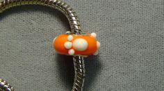 Clemson Tigers European charm bead orange white paws glass big hole bead 141