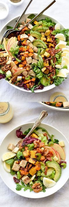 Autumn Cobb Salad - Roasted squash, crunchy apples and dried cherries added to traditional Cobb salad flavors. Dressed in a spiced apple cider vinaigrette and topped with candied walnuts.