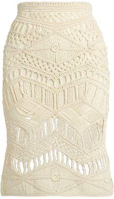 TABULA RASA Tuva hand-macramé silk and wool-blend skirt#ad