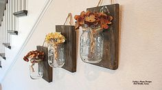 Mason Jar Wall Decor , Set of 3,Pallet Wood , Country Decor , Rustic Decor , Boho Chic, Wall Sconce , Wall Hanging , Bathroom storage