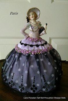 Porcelain Half Doll PincushionDresser Doll by LeesVintageTreasures