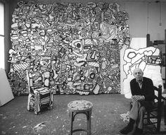 (Jean Dubuffet (b.1901 d.1985) in his studio.