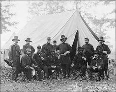 Generals Ambrose E. Burnside, John Buford and Winfield S. Hancock along with Darius N. Couch, Edward Ferrero, Marsena R. Patrick, Orlando B. Willcox, and John Cochrane in Warrenton, VA