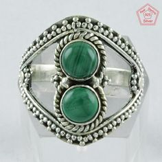 6 US Silver Ring, Silvex Images 925 Sterling Silver With Mealchite Ring R4010 #SilvexImagesIndiaPvtLtd #Statement