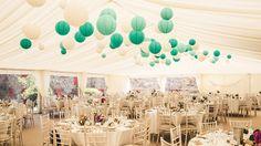 shades of blue for a boho wedding. paper lanterns are beautiful wedding decoration. Great idea!