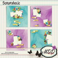 """NEW to GDS """"Scrapaholic"""" by MDD Designs. Create beautiful layouts use these beautiful 12x12 templates in PSD, Tiff, ong and PAGE formates"""