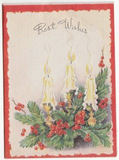 Vintage-Best-Wishes-Candle-Holly-Holiday-Greeting-Card