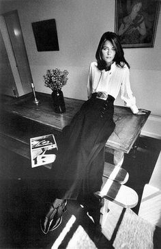 Charlotte Rampling in button-front skirt