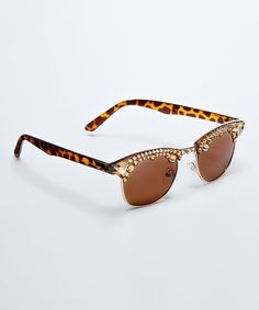 This Donna Salyers' Fabulous-Furs Brown Tortoise Crystal-Embellished Sunglasses by Donna Salyers' Fabulous-Furs is perfect! #zulilyfinds