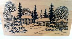 PSX K-1603 Winter Village Scene Rubber Stamp Church Houses Trees Snow Xmas New #PSX