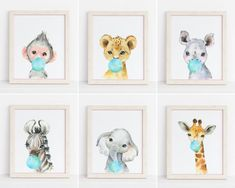Safari Nursery Decor, Set of 6 Wall Art, Baby Animals Blowing Blue Bubble Gum by HolaSunshineDesigns on Etsy Safari Theme, Safari Nursery, Baby Nursery Decor, Gold Nursery, Nursery Prints, Safari Animals, Baby Animals, Floral Printables, Pink Bubbles