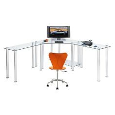 RTA Home and Office Clear Tempered Glass L-Shape Corner Computer and Laptop Desk by RTA Home and Office. $449.99. Multi-level design for adequate component stoarge. Easy Assemble. 8 MM thick Clear Tempered Glass. Tempered glass make this a very chic look with lots of space. gives you a very chic look with tons of work space. This modern looking clear tempered glass corner computer desk has everything you need. With its great design you can put this anywhere in y...