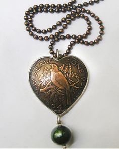 Jane Vile : Necklace - Tui heart and greenstone