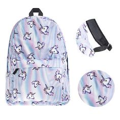 1Pcs Backpack 3D Unicorn Rainbow Print Multi Color Travel Rucksack