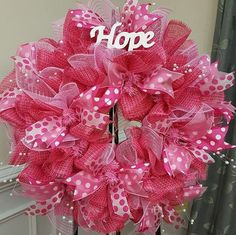 Breast cancer awareness 'Hope' wreath made of poly by Plumbuckle