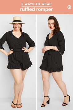 This season, swap out a sun dress for a seriously cool black romper. This piece's ruffled hem leans into the summer ruffle trend in a minimal, laid-back way, and it's super easy to dress up and down. It looks great over a swimsuit, so wear it to and from the pool or beach with a sun hat and flip flops. Then, dress it up at night with a pair of block heels, layered jewelry, and some glam beach waves.