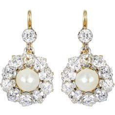 Pre-owned Antique Pearl Diamond Earrings ($5,000) ❤ liked on Polyvore featuring jewelry, earrings, jewels, dangle earrings, long earrings, pearl earrings, 14k gold earrings and drop earrings