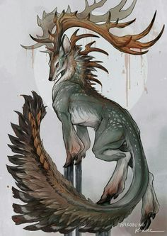 monster art animal deer mythical creature I grouped the aforementioned questions in regards to the pencil drawing that I received … Mystical Animals, Mythical Creatures Art, Mythological Creatures, Magical Creatures, Mystical Creatures Drawings, Cute Fantasy Creatures, Forest Creatures, Creature Concept Art, Creature Design