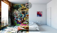 This stunning #interior by designer Pavel Vetrov perfectly divides into a half-graffitied room. #graffiti #design