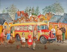 Certainly a colourful and charming painting in the Naive Style by ex Social Worker Aimo Katajainen. Naive, Creative Art, Artist, Painting, Shops, Window, Graphics, Shopping, Style