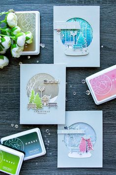 Hero Arts | October My Monthly Hero Blog Hop – Snow Globe Ombre Cards | | Yana Smakula