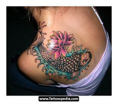 extremely good upper back lotus koi fish watercolor tattoo design