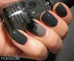 Cloud manicure with China Glaze Recycle and Concrete Catwalk (the color used on the other nails) and a black creme. Fancy Nails, Trendy Nails, Cute Nails, Classy Nails, Dark Grey Nails, Purple Nails, Black Nails, Uñas Fashion, Accent Nails