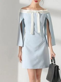 Bateau/boat neck Blue Mini Dress Going out 3/4 Sleeve Vintage Dress