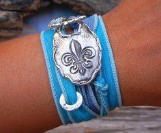 Rustic Jewelry, Sterling Bracelet Fleur de Lis, Silk Ribbon Adjustable