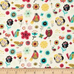 Birds of A Feather Birds & Flowers Cream from @fabricdotcom  Designed by Allison Cole for Camelot Fabrics, this cotton print is perfect for quilting, apparel and home decor accents.  Colors include cream, magenta, aqua, green, black, grey and yellow.
