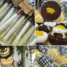 Where the Wild Things Are theme. This was fun to play with and figure out how to match the theme. I'm so glad I had this opportunity!  #dippedpretzels #peanutbuttercups #minicupcakes  #oreotruffles