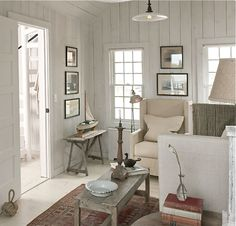 Whitewashed timber panelling