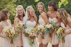pretty bridesmaids and flower colors