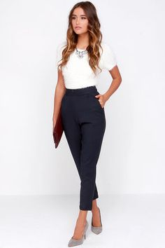 Chic Navy Blue Pants - High Waisted Pants - Blue Trousers