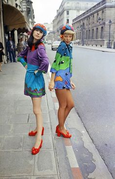 """""""Discotheque"""" fashion by Louis Feraud on the streets of Paris, 1972."""