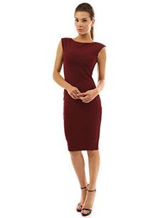 8b91e1f6cd PattyBoutik Women s Boat Neck Sleeveless Sheath Dress (Burgundy XS) Women s  Fashion Dresses