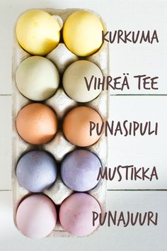 Värjätyt pääsiäismunat ◇ Dyed Easter eggs, starting from top: turmeric, green tea, red onion, blueberry and beetroot. ◇
