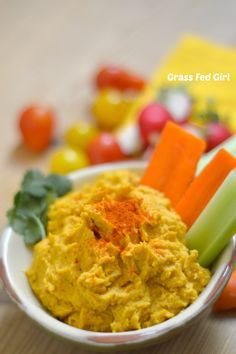 Paleo and Low Carb Pumpkin Hummus Recipe by Grass Fed Girl.  #cambiaticlean
