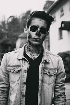 Skeleton makeup.. His neck is awesome
