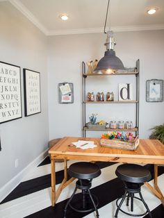 We used pinewood to create shiplap wainscoting for the for Mackinzie craft room table
